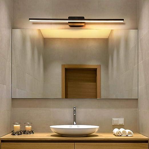 baño luces de espejo LED lámpara de pared dormitorio escalera luz luces de pared negro B longitud 80 cm blanco cálido: Amazon.es: Iluminación