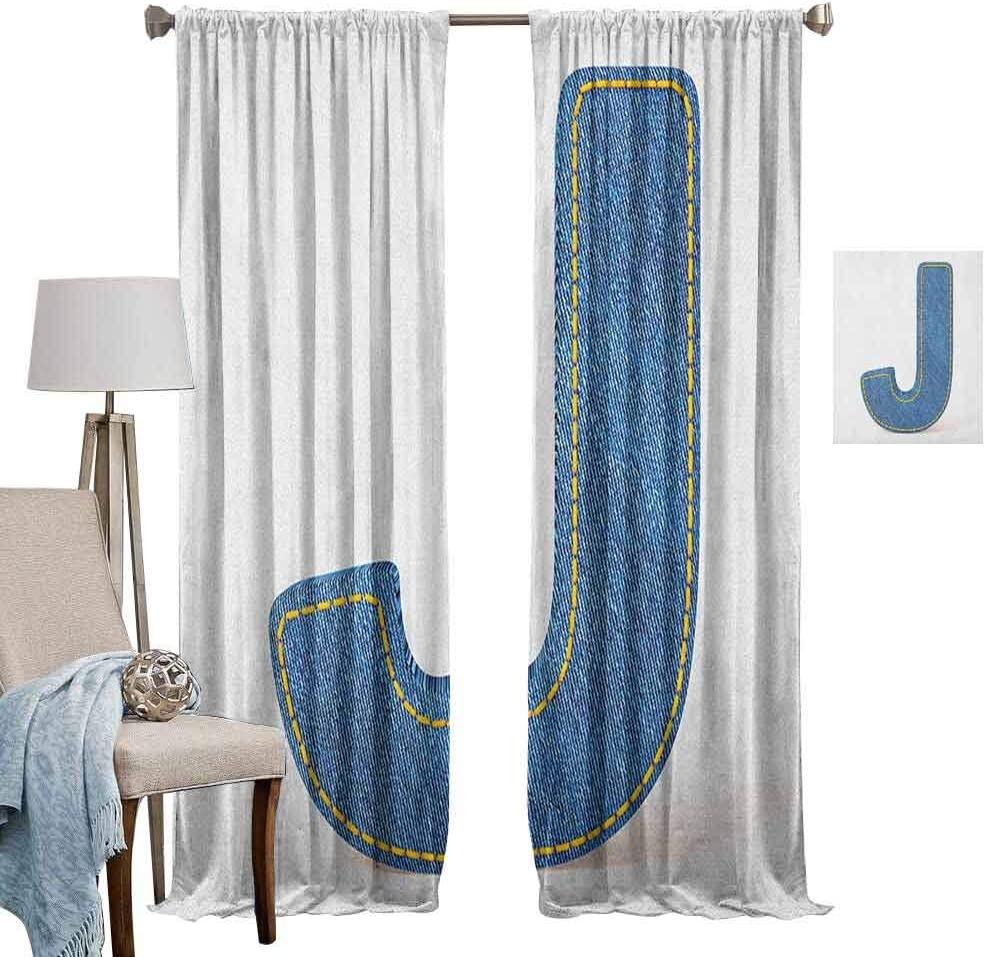 Amazon Com Rod Pocket Window Curtain Windproof Curtain Blue Jean Patterned Denim Alphabet Font Design Capitalized J Letter Cloth Style Blue Marigold Sleeping Environment Turns Black Set Of 2 Panels W62 X L72