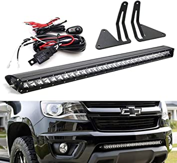 Ijdmtoy Lower Grille Mount 30 Inch Led Light Bar Kit For 2015 Up Chevrolet Colorado Or Gmc Canyon Includes 150w Cree Led Lightbar Lower Bumper