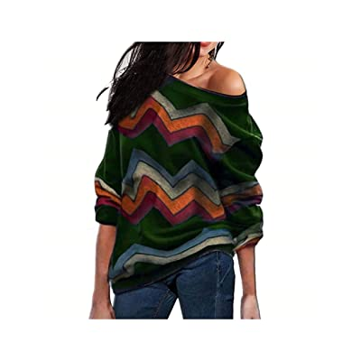 AAKOPE& Sweater Women Long Sleeve Pullover One Off Shoulder Sweater Tops Jumper Jersey: Ropa y accesorios