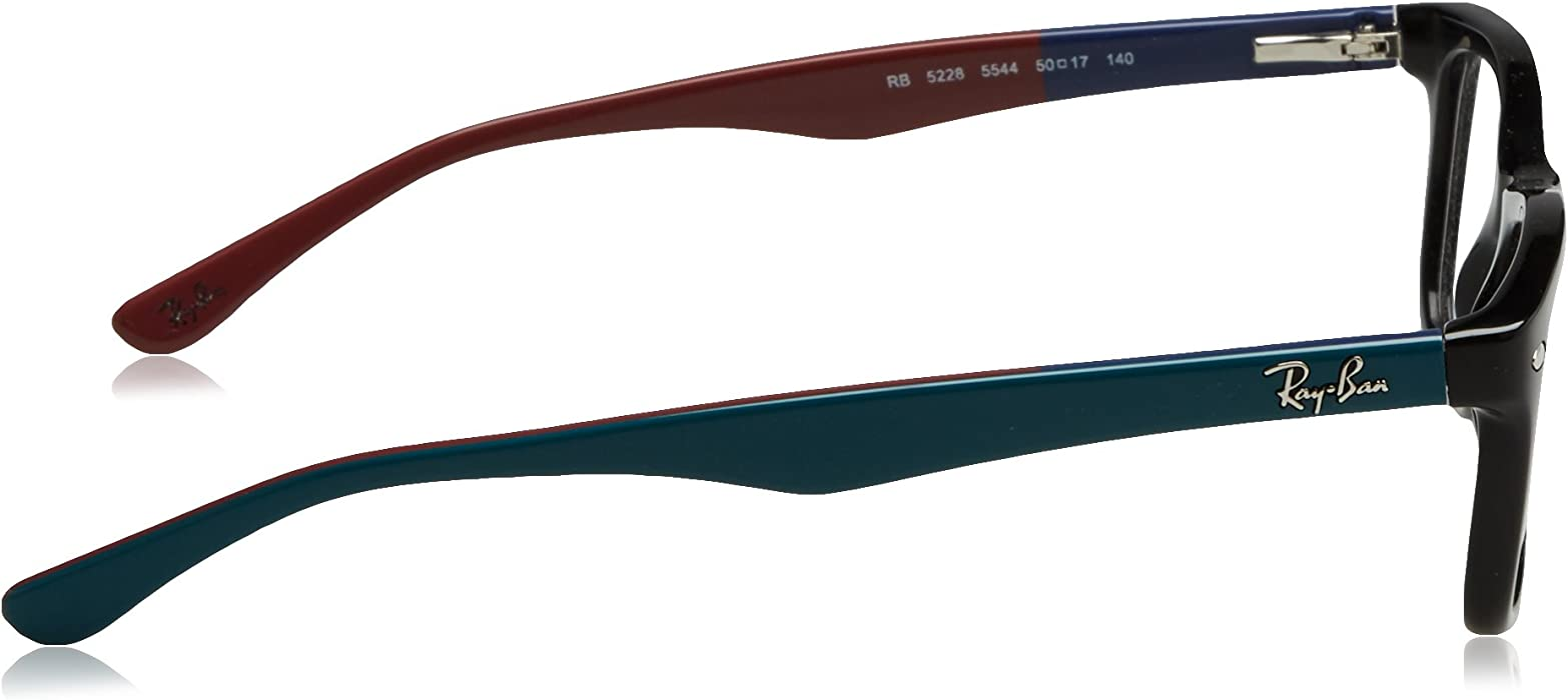 9967ba23a Ray-Ban RX5228 Glasses in Black Teal Bordeaux RX5228 5544 50, Black ...