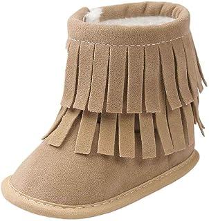 ZHRUI Baby Boots Toddler Newborn Semelle Souple Chaussons de Landau Anti-dérapants Chaussettes 0-6 Mois, 6-12,12-18,18-24 Mois, 2-3 Ans, Garder au Chaud des Glands à Deux Niveaux Kaki