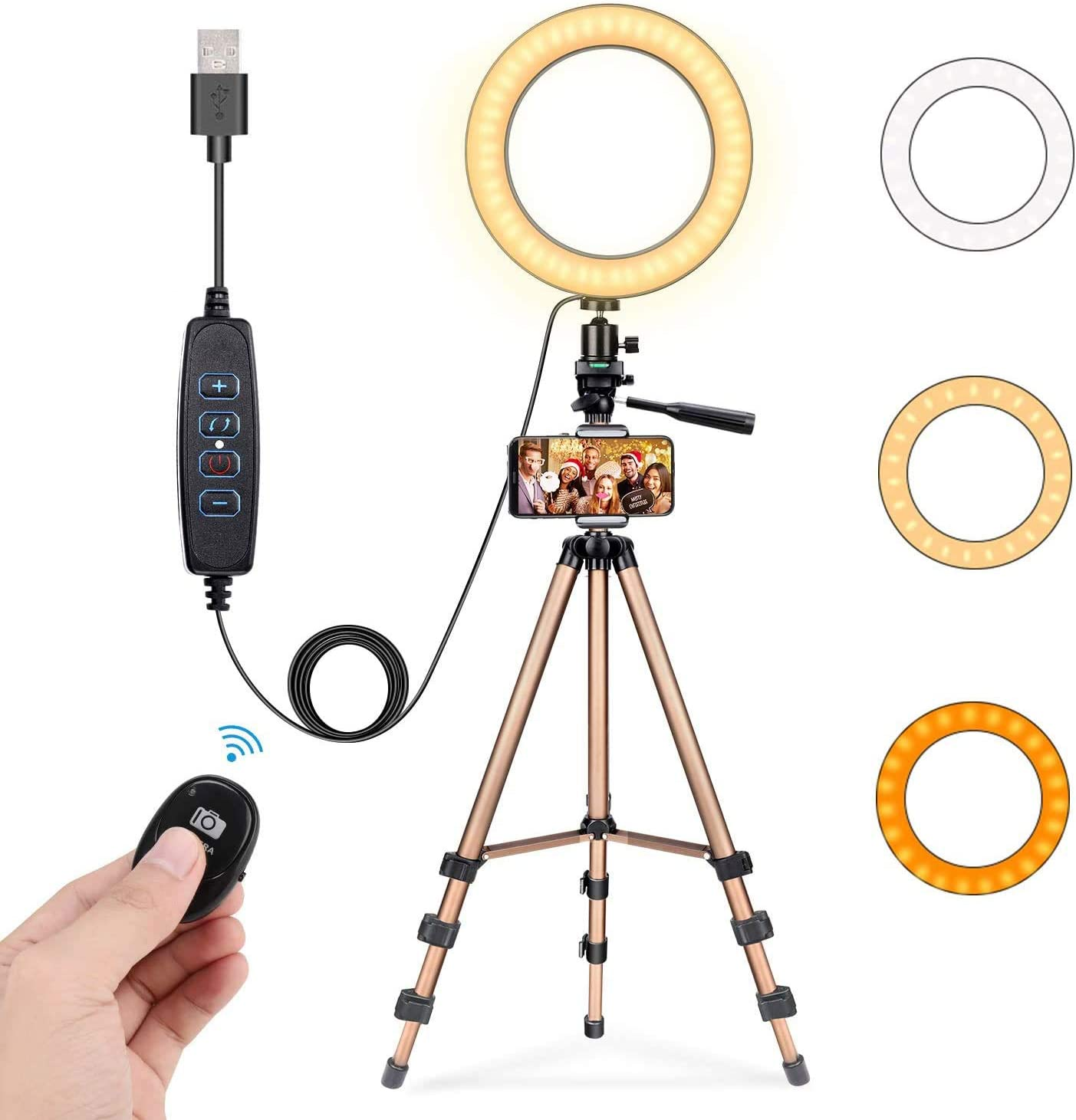 """Fostoy 8"""" Selfie Ring Light with 50"""" Extendable Tripod Stand"""