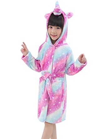 8a03a54cb Amazon.com  Abollria Kids Soft Unicorn Hooded Bathrobe Children ...