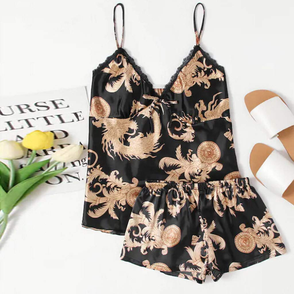 YOcheerful Women Lingeries Summer Sleepwear Sleeveless Printed Nightwear Loose Thin Satin Lingerie Set