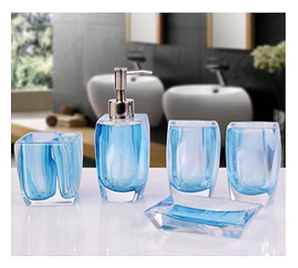 Bellabrunnen Accessoires de Salle de Bain Set de finition en Acrylique  cristal de luxe Décoration Holder Tumbler Bleu