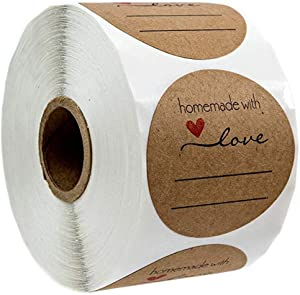 Handmade with Love Stickers, Love Stickers for Candle Making, Bakeries, Bake Sales, Weddings, Baby Showers 1Inch 500 Labels (B)