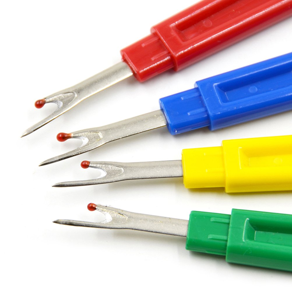 IYSHOUGONG 4 Pcs Large Seam Ripper Plastic Stitch Thread Unpicker with Protective Cap Sewing Supplies for Opening Seams and Hems