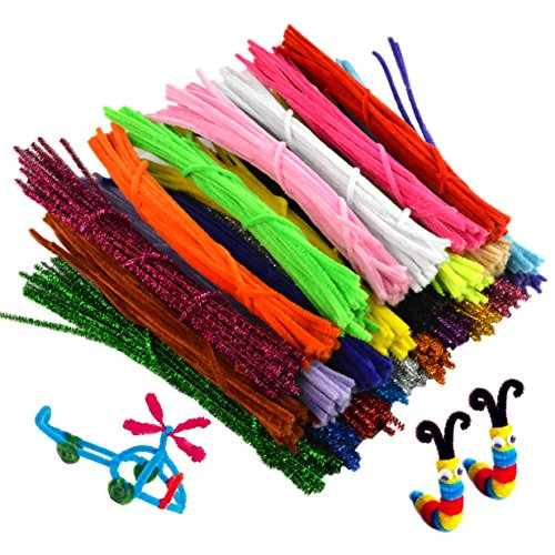 Pistha 750pcs Craft Pipe Cleaners 6mmx12inch Reusable Chenille Wire Stem Craft Bendable Twistable Children Puzzle DIY Kindergarten Handmade Art Supplies Assorted Colors Early Education ()