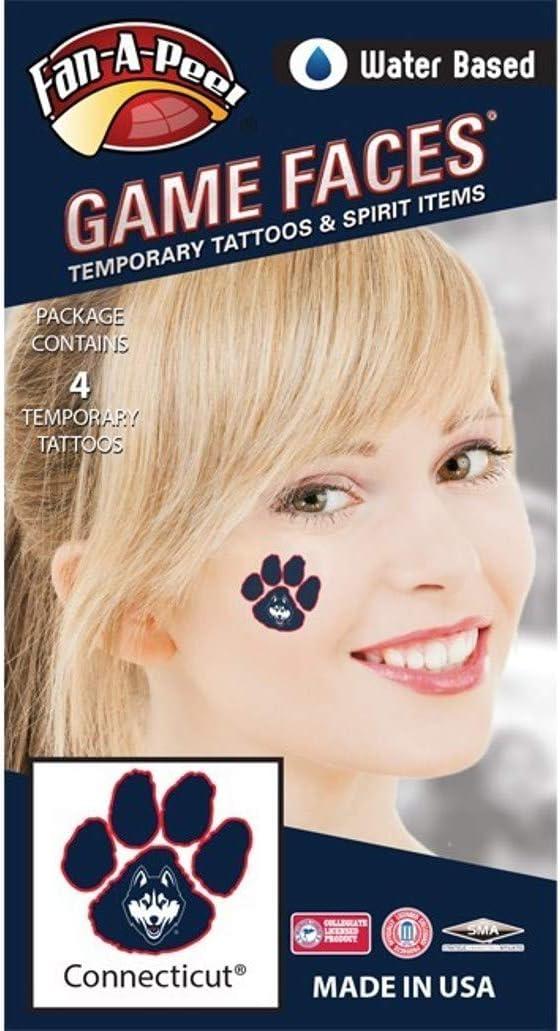 Fan A peel University of Connecticut (UCONN) Huskies – Water Based Temporary Spirit Tattoos – 4-Piece – White/Navy Blue Husky Head Logo in Paw Print