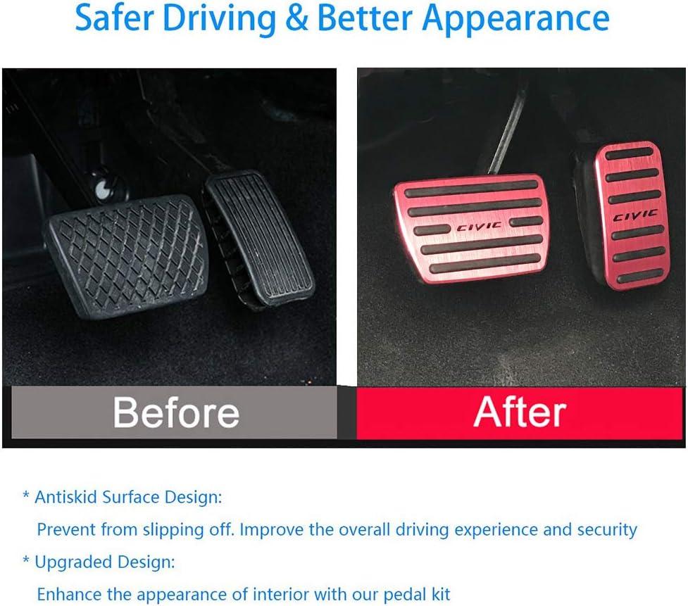 Non-Slip Aluminum alloy Pedal Cover For Honda 10th Civic 2016 2017 2018 2019 2020 Automatic Motor No Drill Brake Gas Accelerator Accessories 2pcs (RED)