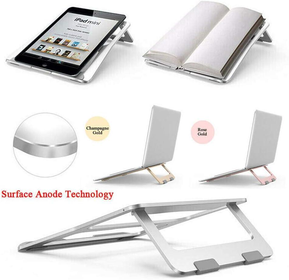 Portable Lightweight Notebook Holder Desktop Ergonomic Notebook Holder Champagne Gold Adjustable Laptop Stand for Desk Aluminum Removable Laptop Holder Laptop Stand