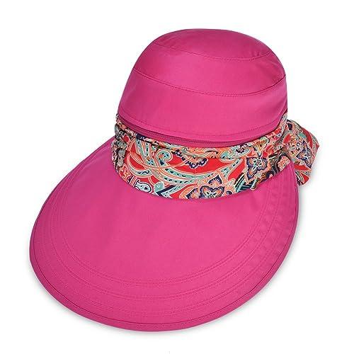 Vbiger Mujeres Visera Sombrero de Ala Ancha Mariposa Nudo Flexible Sombrero Playa Plegable (Rojo)