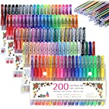 Cedar Markers Gel Pens. 200 pcs Set 100 Pens Plus 100 Refills. Color Pens with Grip. Neon Glitter Metallic Pastel Colors No Duplicates. Drawing Pens for Adult Coloring Book Bullet Journal Scrapbooking