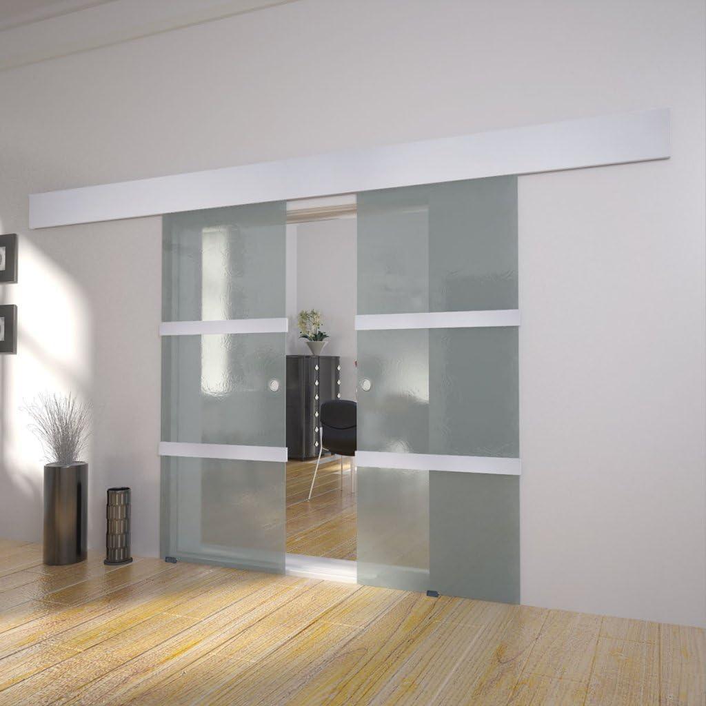 Festnight Puerta Corredera Doble Material de Cristal y Aluminio y Acero, 205x75 cm