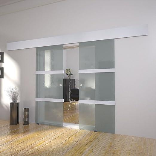 Festnight Puerta Corredera Doble Material de Cristal y Aluminio y ...