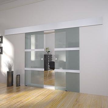 Festnight Puerta Corredera Doble Material de Cristal y Aluminio y Acero, 205x75 cm: Amazon.es: Hogar