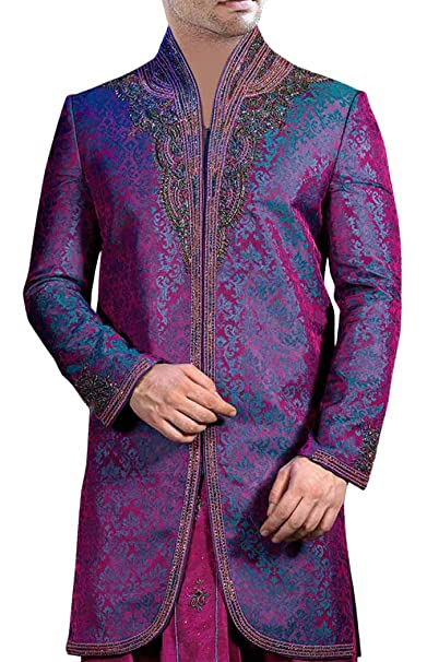 Amazon.com: INMONARCH para hombre morado 2 PC Indo Western ...