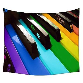 Snoogg Colorido Teclado de Piano música colgar en la pared indio Mandala tapiz colgante de pared