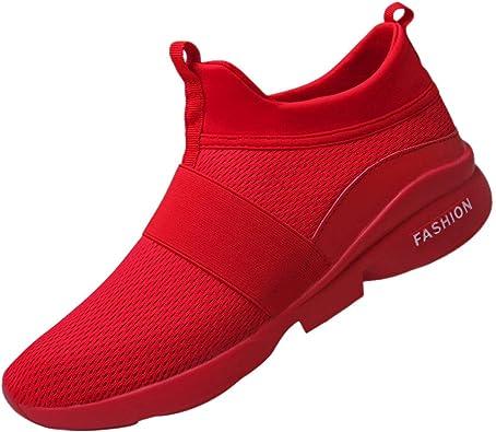 JiaMeng Zapatillas Deporte Hombre Zapatos para Correr Athletic Cordones Air de Moda Beathable Zapatos de Malla Zapatos Casuales sin Cordones: Amazon.es: Zapatos y complementos