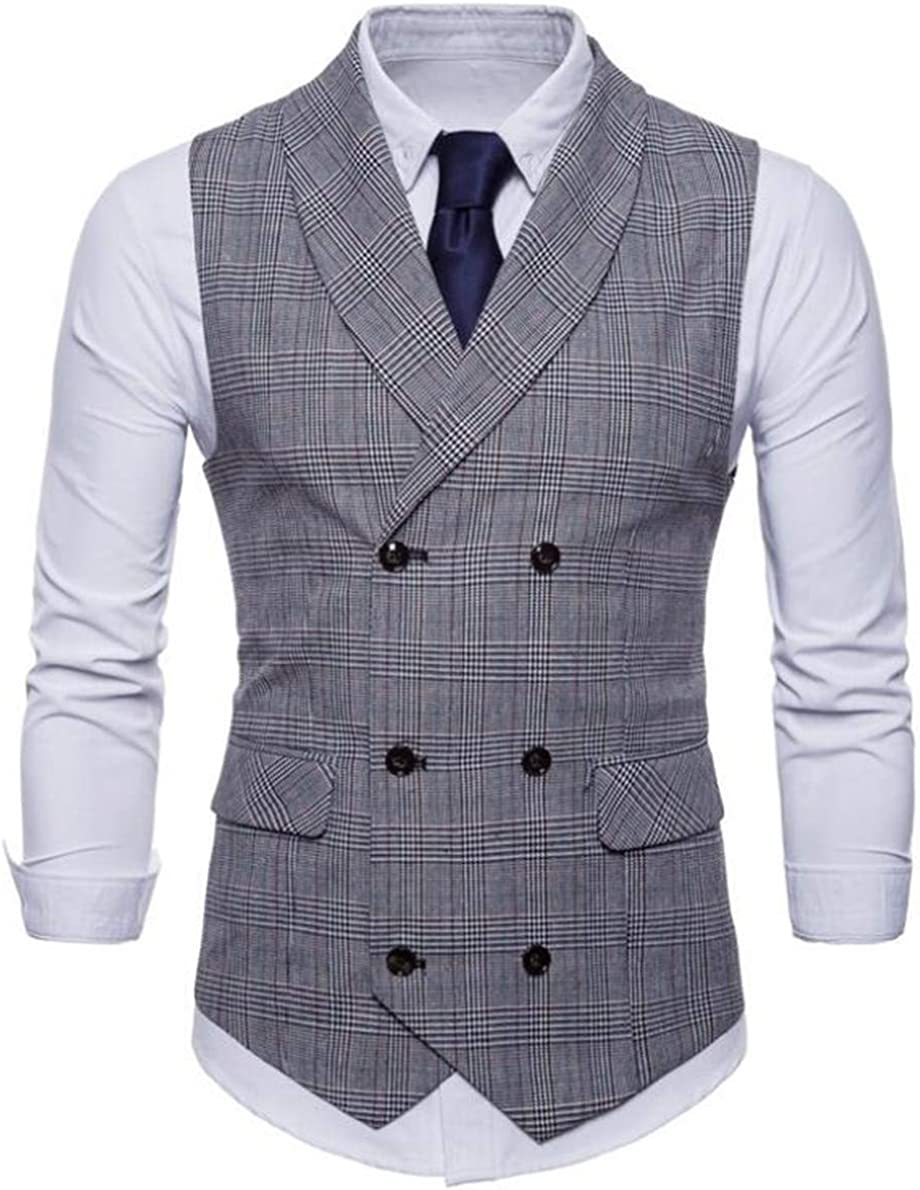 CRYYU Men Sleeveless Lapel Lapel Double-Breasted Plaid Suit Vest Jacket Coat