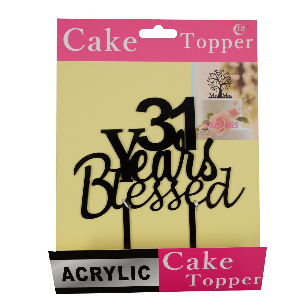 Amazon.com: 31 years blessed cake topper for 31 years loved ...