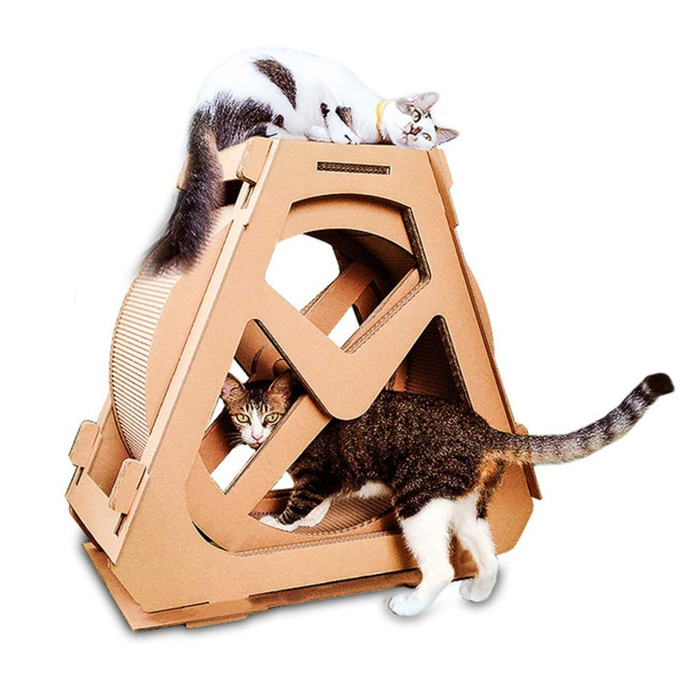 HU Cat Tree DIY Easy Corrugated Paper Water Wheel Climbing Frame Grinding Claw Play Playground