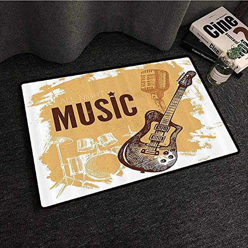 Rock Music Welcome Door mat Vintage Sketch Hand Drawn Drums and Microphone Pattern Abstract Backdrop Quick and Easy to Clean W35 xL47 Pale Coffee Brown (Kokopelli Design Drum)