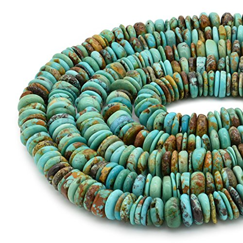 - Bluejoy Genuine Natural American Turquoise 9mm Free-Form Disc Bead 16 inch Strand for Jewelry Making