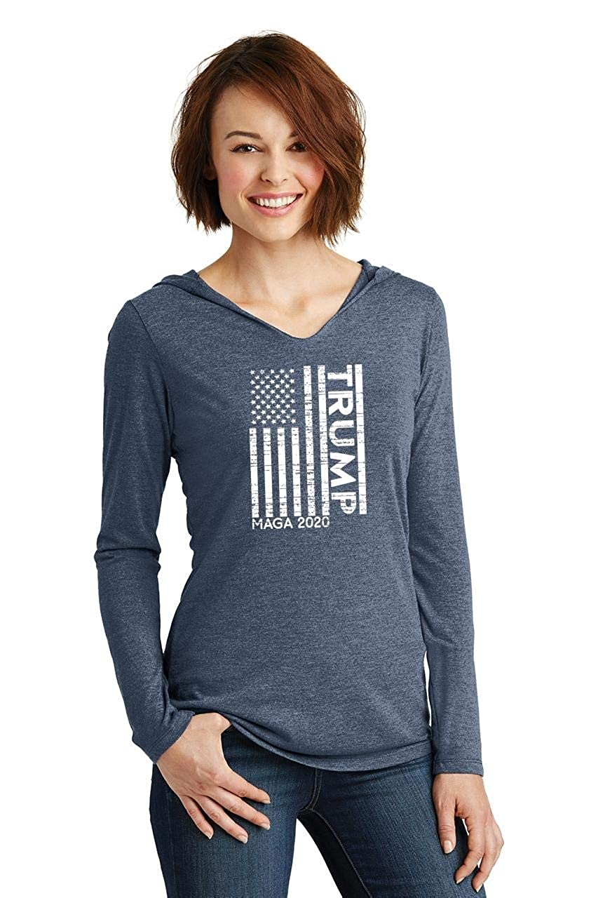 Comical Shirt Ladies Trump American Flag MAGA 2020 Hoodie Shirt