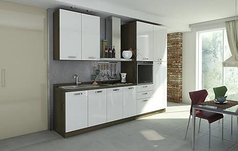 Cucina componibile Rovere Tartufo e Laccato Bianco: Amazon.it: Casa ...