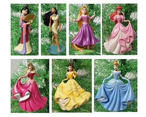 Disney Magical PRINCESS 7 Piece Holiday Christmas Tree Ornament Set Featuring Belle, Rapunzel, Ariel, Cinderella, Pocahontas, Mulan and Aurora - Ornaments Range 3