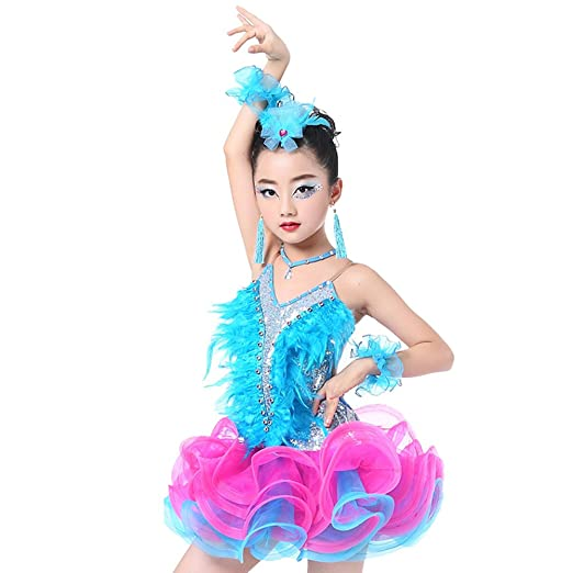69d6222cf Amazon.com: Children Girls Sequins Backless Latin Dance Dress Rumba Salsa  Skirt: Clothing