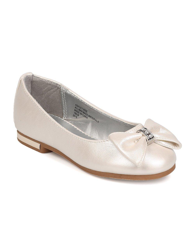 Leatherette Bow Tie Ballerina Flat (Toddler Girl/Little Girl/Big Girl) FB39 - Ivory (Size: Toddler 9)