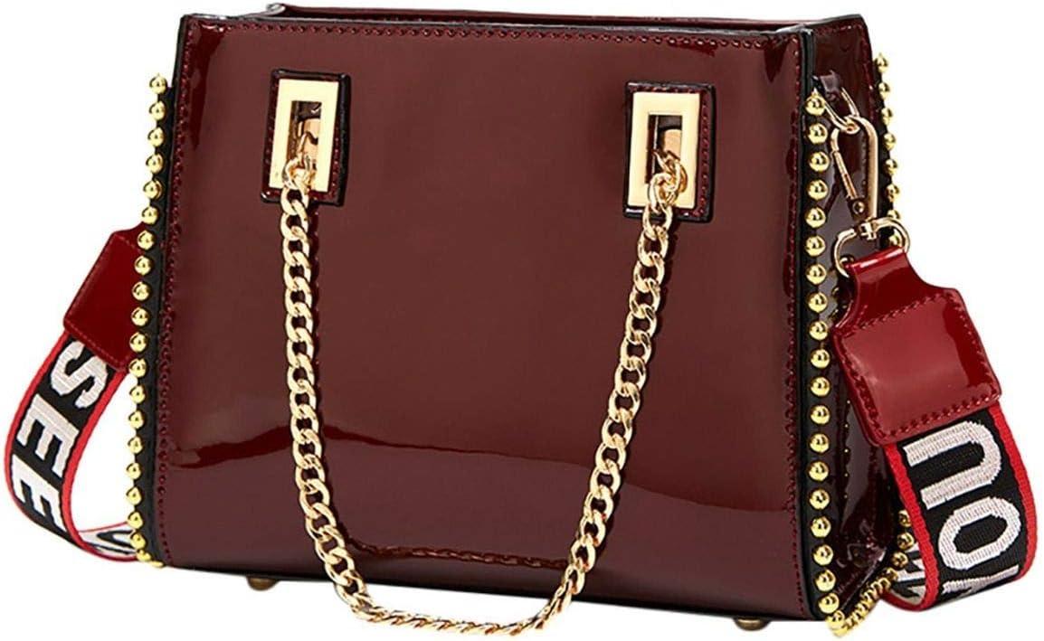Black, Women Handbags Chain Top Handle Satchel Tote Purse Ladies Patent Leather Crossbody Shoulder Bag for Ladies