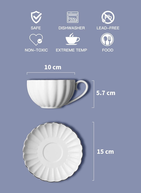Juego de 6 tazas de t/é y platillos color blanco Amazingware porcelana, 240 ml