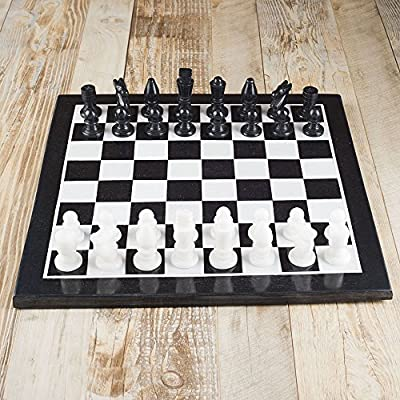 Rusticity Tournament Marble Chess Set with Marble Chess Board and Pieces | Un-foldable | Handmade | (19x15 in)