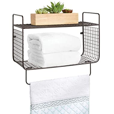 mDesign Metal Wire Farmhouse Wall Decor Storage Organizer 2 Tier Shelf with Towel Bar for Bathroom, Laundry Room, Kitchen, Garage - Wall Mount - Bronze