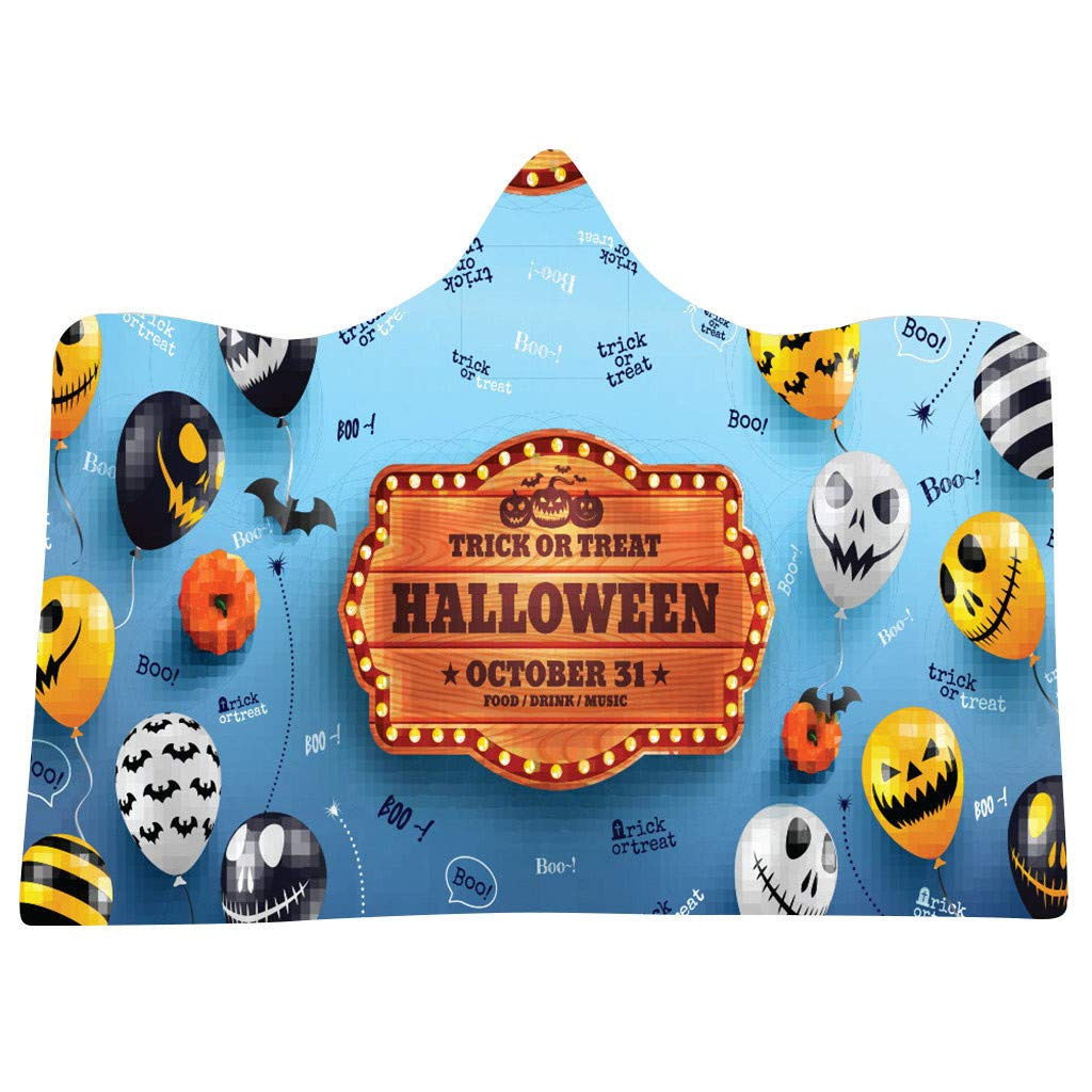 Flannel Blanket Soft Halloween Hooded Blanket 3D Funny Black Cat and Pumpkin Printed Wearable Blanket Soft Wrap Throw Blanket Lightweight Bathrobe One Size Fits All Halloween-f, 59.0X78.7 inch by charmsamx