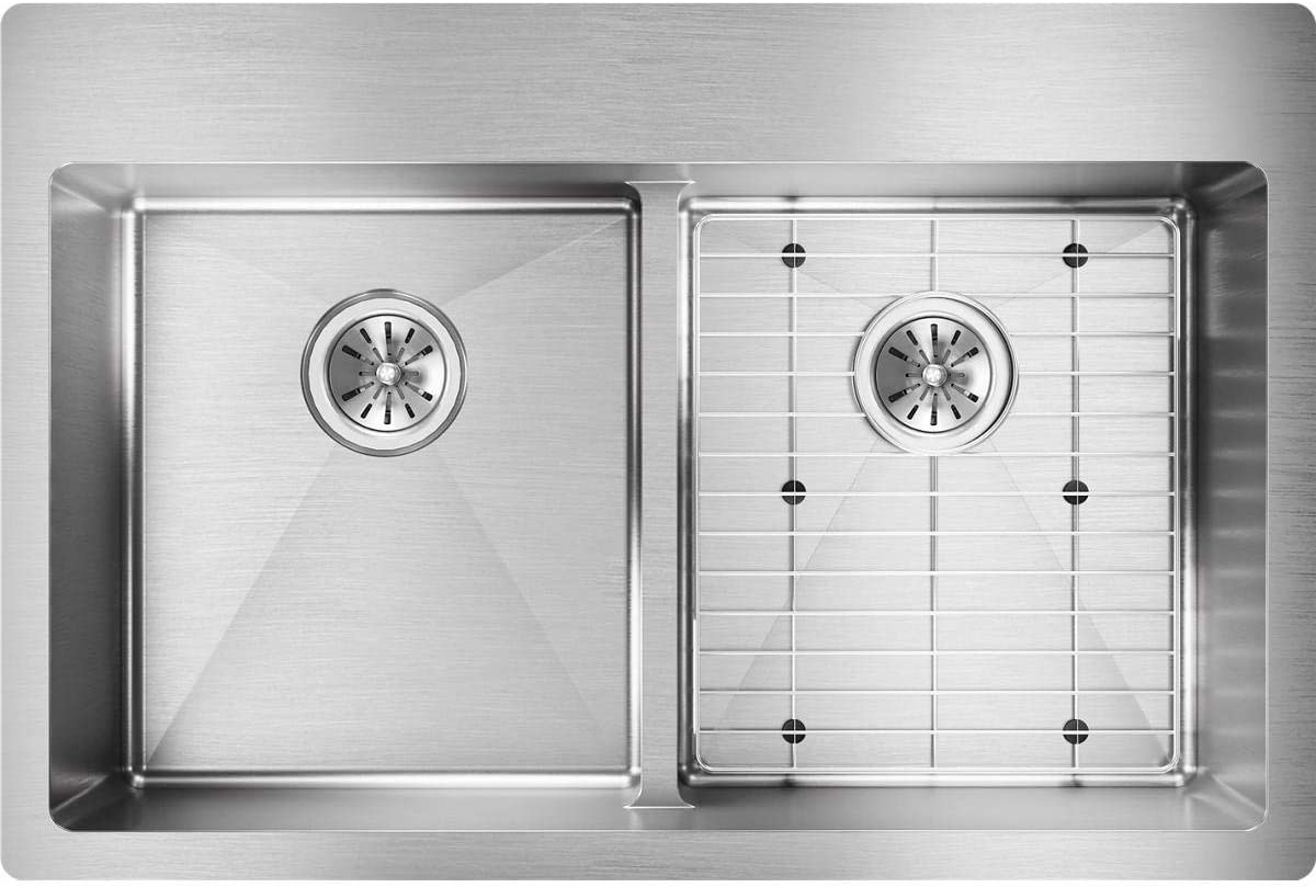 Elkay Crosstown ECTSRA33229TBG0 Equal Double Bowl Dual Mount Stainless Steel Kitchen Sink Kit with Aqua Divide