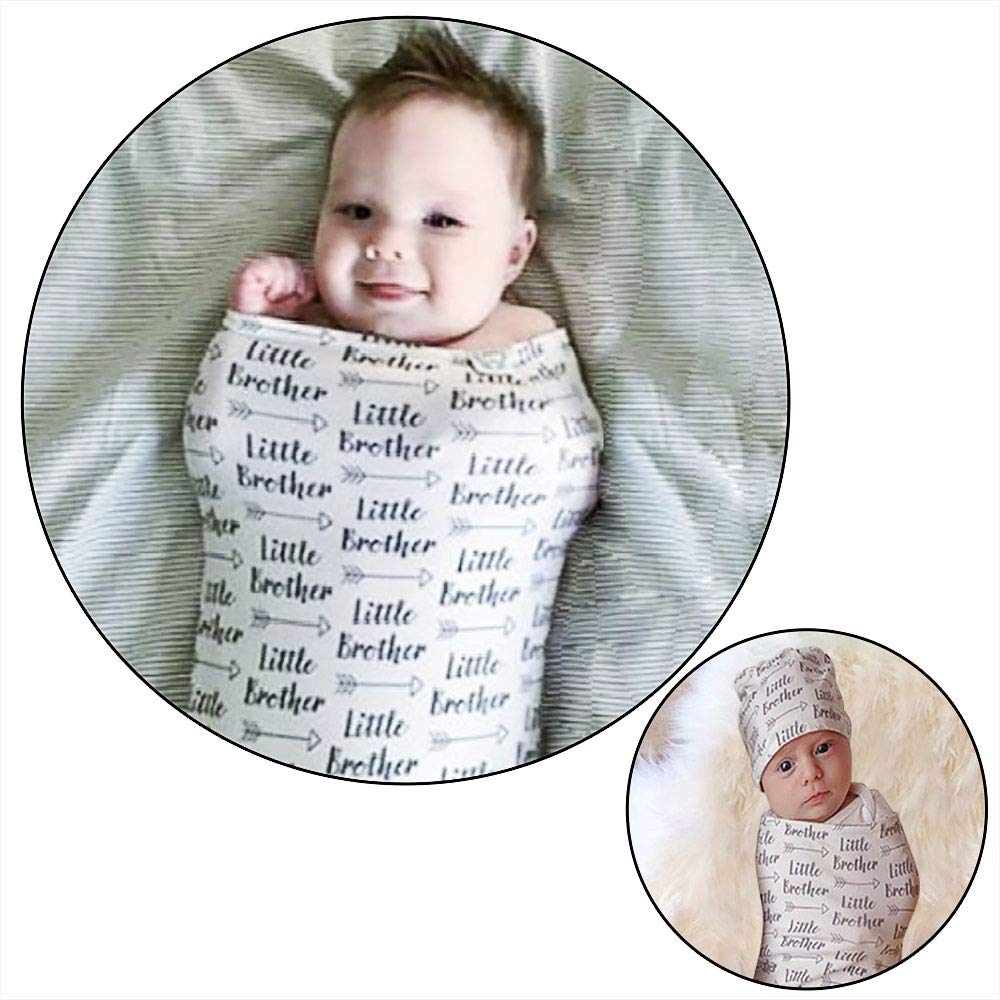 Newborn Swaddle Sack with Baby Hat Set Sleeping Sack  Soft  Stretchy Cotton for 0-3 Months Baby Boys Ink Bear Print by TIANNUOFA .