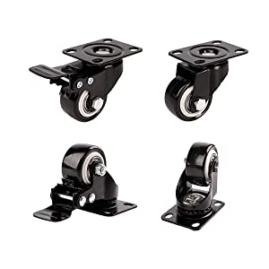 "1.5"" Swivel Caster Wheels with Safety Dual Locking and Polyvinyl Chloride No Noise Wheels,Heavy Duty - 330 Lbs Total Capacity for Set of 4 (2 with Brakes)"
