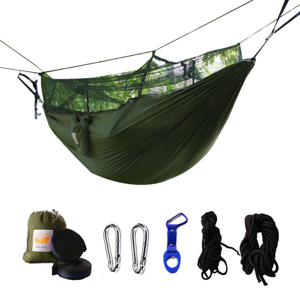 ESYGO Hammock Mosquito Net,Hammock Camping Lightweight Portable Double Parachute Hammocks Mountain Adventure Outdoor Jungle Hiking Camping Backpacking Backyard Beach