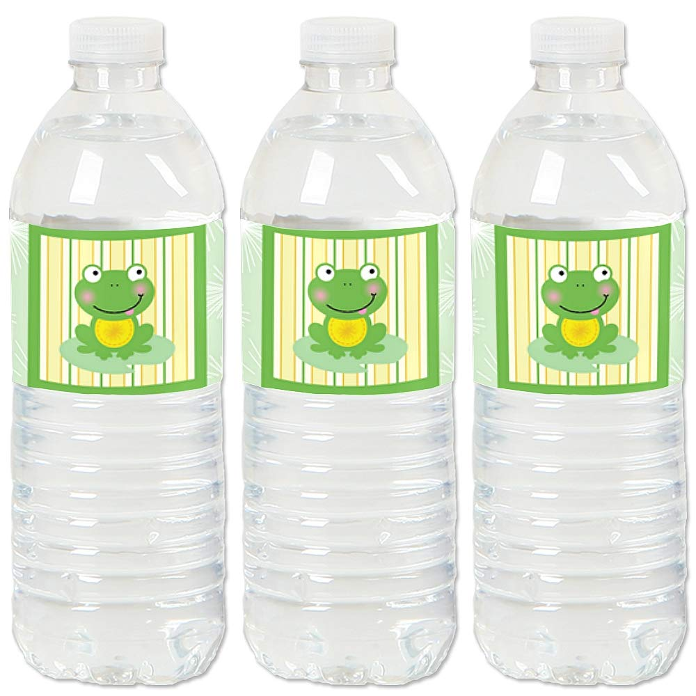 Froggy Frog - Baby Shower or Birthday Party Water Bottle Sticker Labels - Set of 20