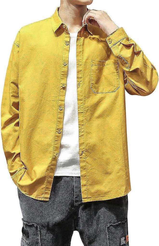 Camisas Hombres, Camisa de Blusa de Manga Larga con Bolsillo Puro Moda para Hombres: Amazon.es: Ropa y accesorios