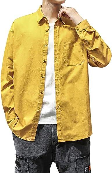 CAOQAO Camisas Hombre Moda de Bolsillo de Color Puro Loose fit M-5XL: Amazon.es: Ropa y accesorios