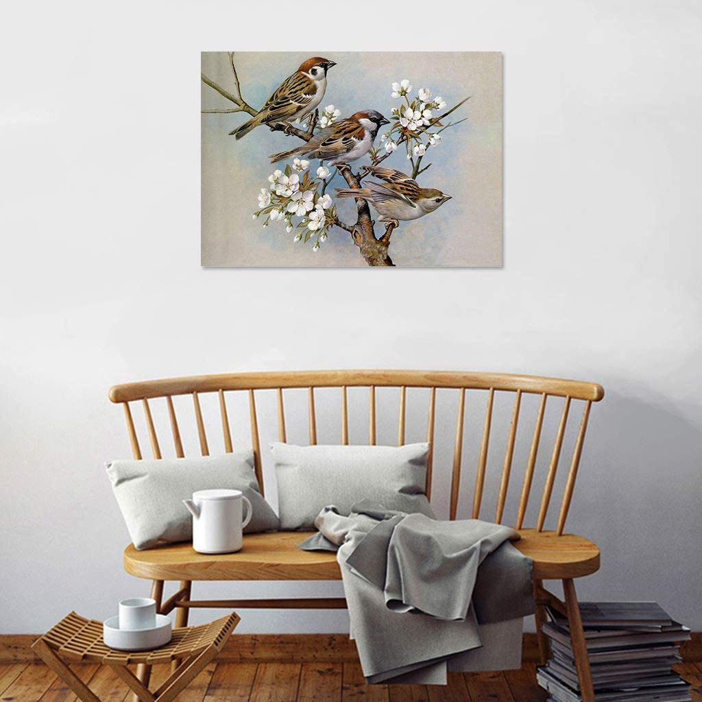 KUKALE Diamond Painting Sparrow 5D DIY Round Embroidery Art Perfect for Relaxation and Home Wall Decor