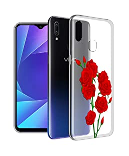 Nainz ''RED Flowers'' Imported Ultra Soft Silicone Back Cover Case for vivo y95(Transparent)