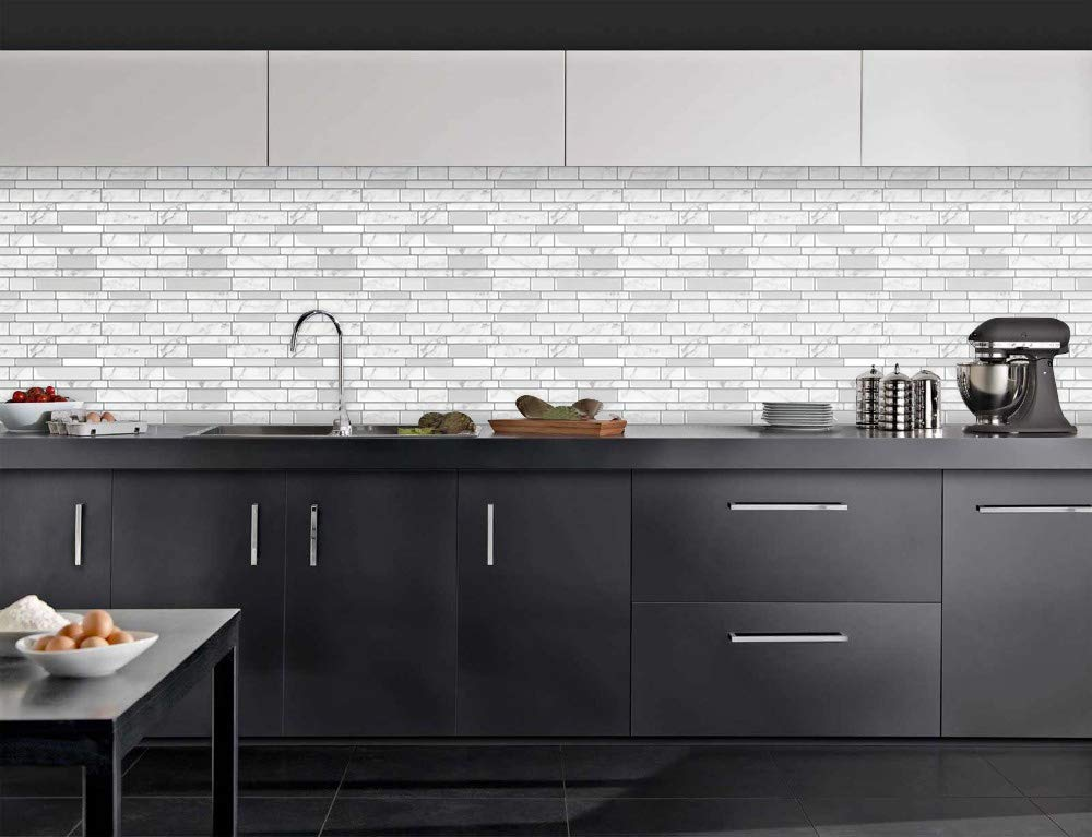 Tic Tac Tiles - Premium Anti Mold Peel and Stick Wall Tile Backsplash in Polito Design (Blanco, 6) by Tic Tac Tiles (Image #3)