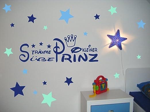 Wandtattoo Kinderzimmer, Kind, Baby ~ Text: Süße Träume kleiner Prinz +  Krone und Sterne Tricolore blau - für Jungen, Buben ~ 61059-57x20 cm ...